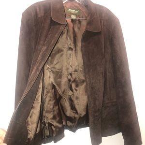 EDDIE BAUER Dark Brown Suede Jacket Size XXL